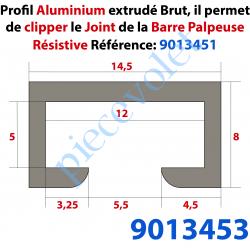 9013453 Rail en Aluminium Brut de Barre Palpeuse Barre de 3 mètres