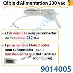 9014005 Câble d'Alimentation 230 vac Muni d'1 Prise de Connexion et 2 Fils Dénudés