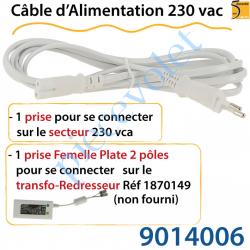 9014006 Câble d'Alimentation 230 vac Muni de 2 Prises de Connexion
