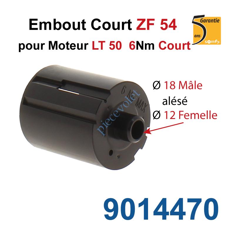 9014470 Embout Court Zf 54 pour Moteur Court 6 Nm Max Téton ø18 Mâle Alésé ø12mm Femelle