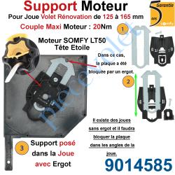 9014585 Support Moteur LT 50, Universel pour Joue Zamac de 125 à 165 mm