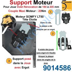 9014586 Support Moteur LT 50, Universel pour Joue Zamac de 180 à 205 mm