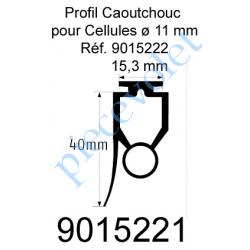 9015221 Profil Caoutchouc de Barre Palpeuse Optique avec Joint à Lèvre Larg 20 x Haut 40 mm Talon 15,3 mm