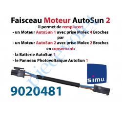 9020481 Faisceau de Câble Moteur permet de brancher une Batterie et un Panneau photovoltaïque Autosun 1 sur un Moteur Autosun 2