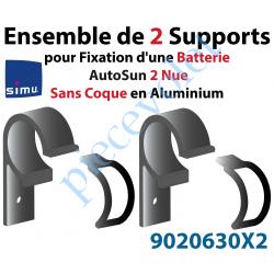 9020630X2 2 Supports pour Fixation d'une Batterie AutoSun 2 Nue Sans Coque en Aluminium