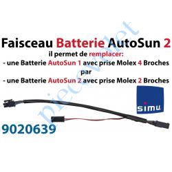 9020639 Faisceau de Câble Batterie permet de brancher une Batterie Autosun 2 sur un Moteur et un Panneau photovoltaïque Autosun
