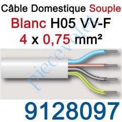 9128097 Câble H05VVF Blanc 4 x 0,75 mm² (le mètre)