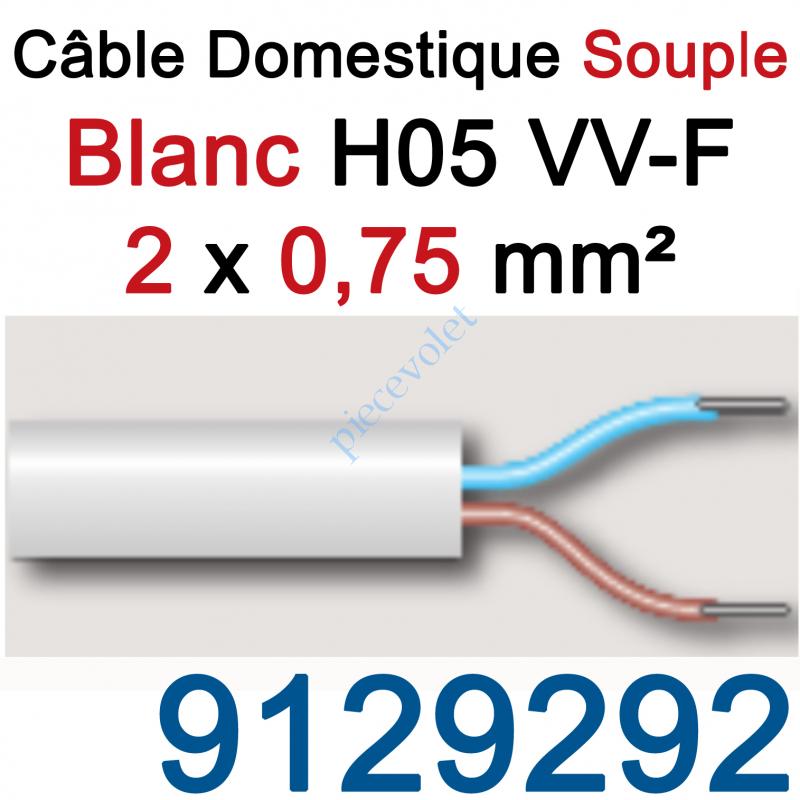 9129292 Câble H05VVF Blanc 2 x 0,75 mm² (le mètre)