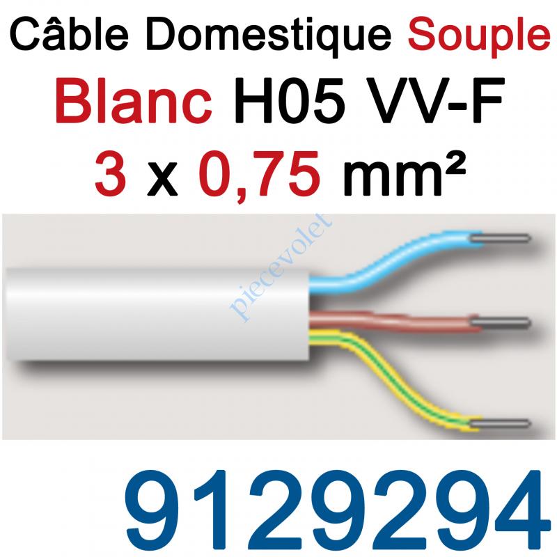 9129294 Câble H05VVF Blanc 3 x 0,75 mm² (le mètre)