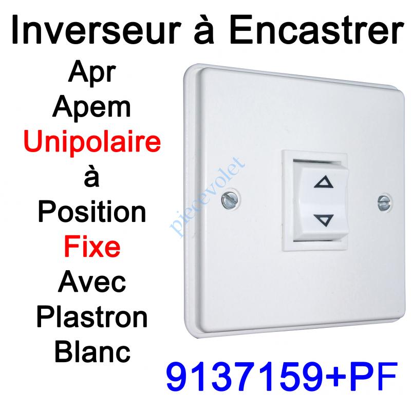 9137159+PF Inverseur Apr-Apem Unipolaire à Position Fixe avec Plaque pour Encastrer