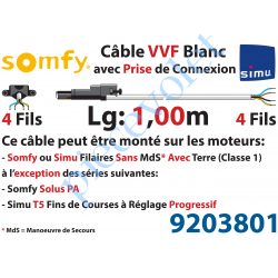 9203801 Câble H05VVF Blanc 4 x 0.75 mm² lg 1,00 m Avec Prise Noire pour Moteur LT Filaire