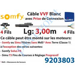 9203803 Câble H05VVF Blanc 4 x 0.75 mm² lg 3,00 m Avec Prise Noire pour Moteur LT Filaire