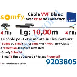 9203805 Câble H05VVF Blanc 4 x 0.75 mm² lg 10,00 m Avec Prise Noire pr Moteur LT Filaire
