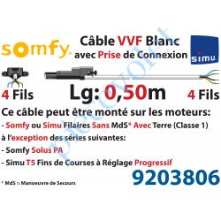 9203806 Câble H05VVF Blanc 4 x 0.75 mm² lg 0,50 m Avec Prise Noire pour Moteur LT Filaire
