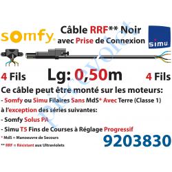 9203830 Câble H05RRF Noir Résistant aux Ultraviolets 4 x 0.75 mm² lg 0,50 m Avec Prise Noire pour Moteur LT Filaire