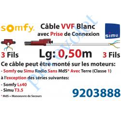 9203888 Câble H05VVF Blanc 3 x 0.75 mm² lg 0,50 m Avec Prise Marron ou Grise pour Moteur LT Rts ou io