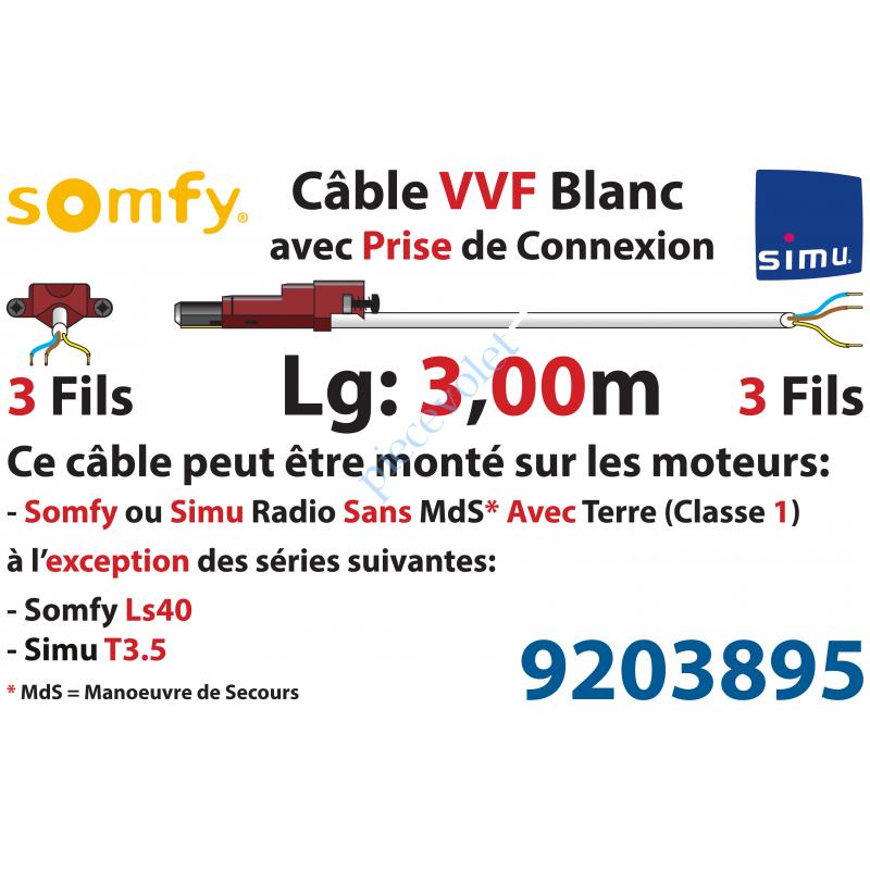 9203895 Câble H05VVF Blanc 3 x 0.75 mm² lg 3,00 m Avec Prise Marron ou Grise pour Moteur LT Rts ou io