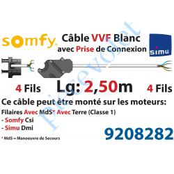 9208282 Câble H05VVF Blanc 4 x 0.75 mm² lg 2,50 m Av Prise Noire pr Moteur LT Csi Filaire