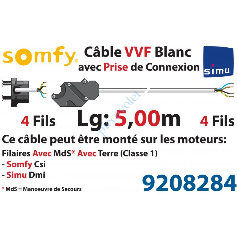 9208284 Câble H05VVF Blanc 4 x 0.75 mm² lg 5,00 m Av Prise Noire pr Moteur LT Csi Filaire
