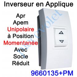 9660135+PM Inverseur Apr-Apem Unipolaire à Position Momentanée avec Socle Réduit pour Pose en Applique
