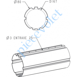 A136 Tube Zf80 en 12/10 Galva, le mètre