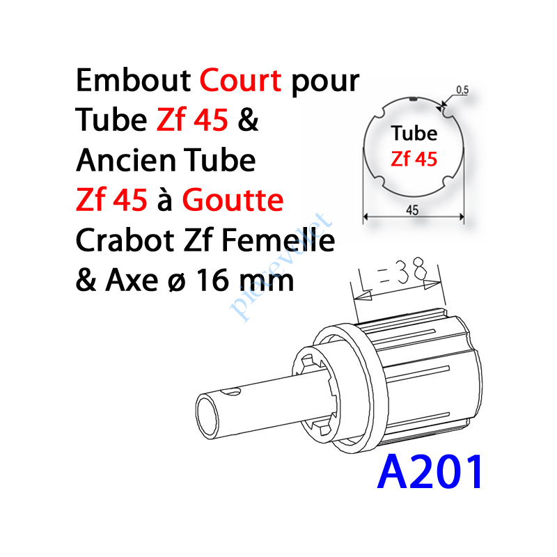 A201 Embout Court Zf 45 (Compatible avec l'Ancien Tube Zf45 à Goutte) à Crabot Zf Femelle Axe ø16 mm Mâle lg 58mm