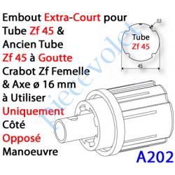 A202 Embout Extra Court Zf 45 (Compatible avec l'Ancien Tube Zf45 à Goutte) à Crabot Zf Femelle Axe ø16 mm Mâle lg xx mm
