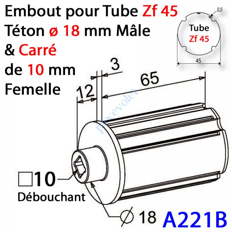 A221B Embout Zf 45 Téton ø 18 mm Mâle Alésé en Carré de 10 mm Femelle