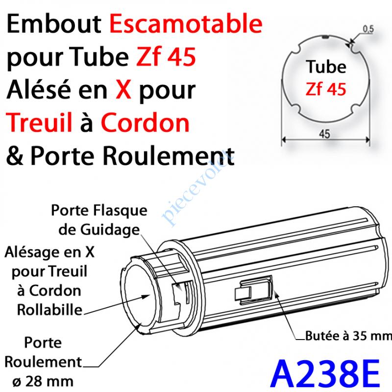 A238E Embout Escamotable Zf 45 Porte Roulement ø28 Alésé en X de 10 mm Femelle pour Treuil à Chainette