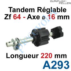 A293 Tandem Zf 64 Axe Longueur 220 mm ø 16 mm Mâle Réglable de 38 à 88 mm
