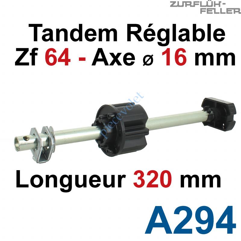 A294 Tandem Zf 64 Axe Longueur 320 mm ø 16 mm Mâle Réglable de 38 à 130 mm