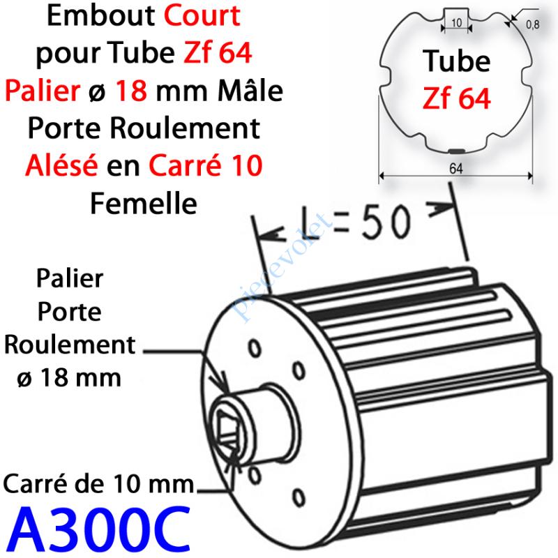A300C Embout Court Zf 64 Téton ø 18 mm Mâle Alésé en Carré de 10 mm Femelle