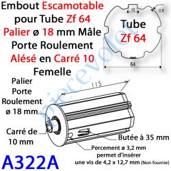 A322A Embout Escamotable Zf 64 Téton ø18 Mâle Alésé en Carré de 10 mm Femelle