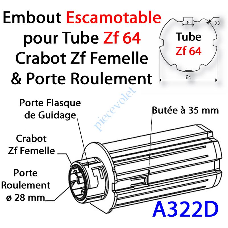 A322D Embout Escamotable Zf 64 Crabot Zf Femelle Porte Roulement ø28 Pds Tab Max 25 kg
