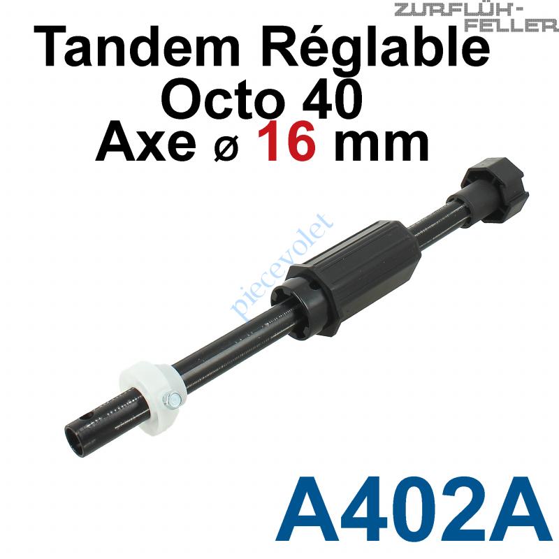 A402A Tandem Octo 40 Axe ø 16 mm Mâle Réglable de 38 à 138 mm