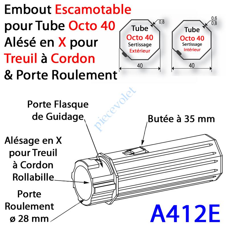 A412E Embout Escamotable Octo 40 Porte Roulement ø28 Alésé en X de 10 mm Femelle pour Treuil à Chainette