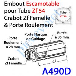 A490D Embout Escamotable Zf 54 Crabot Zf Femelle Porte Roulement ø28 Poids Tablier Maxi 25 kg