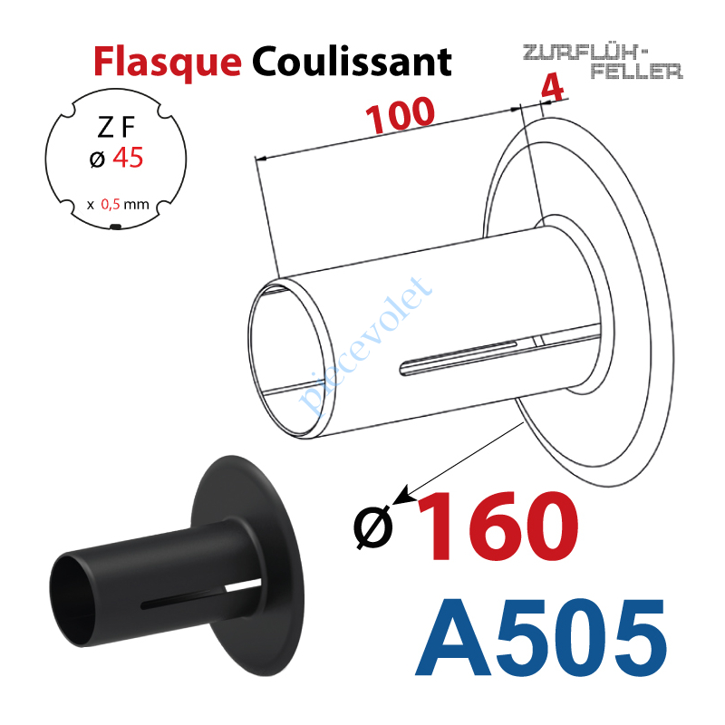 A505 Flasque Coulissant ø 160 mm pour Tube Zf 45