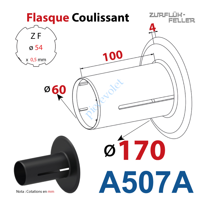 A507A Flasque Coulissant ø 170 mm pour Tube Zf 54