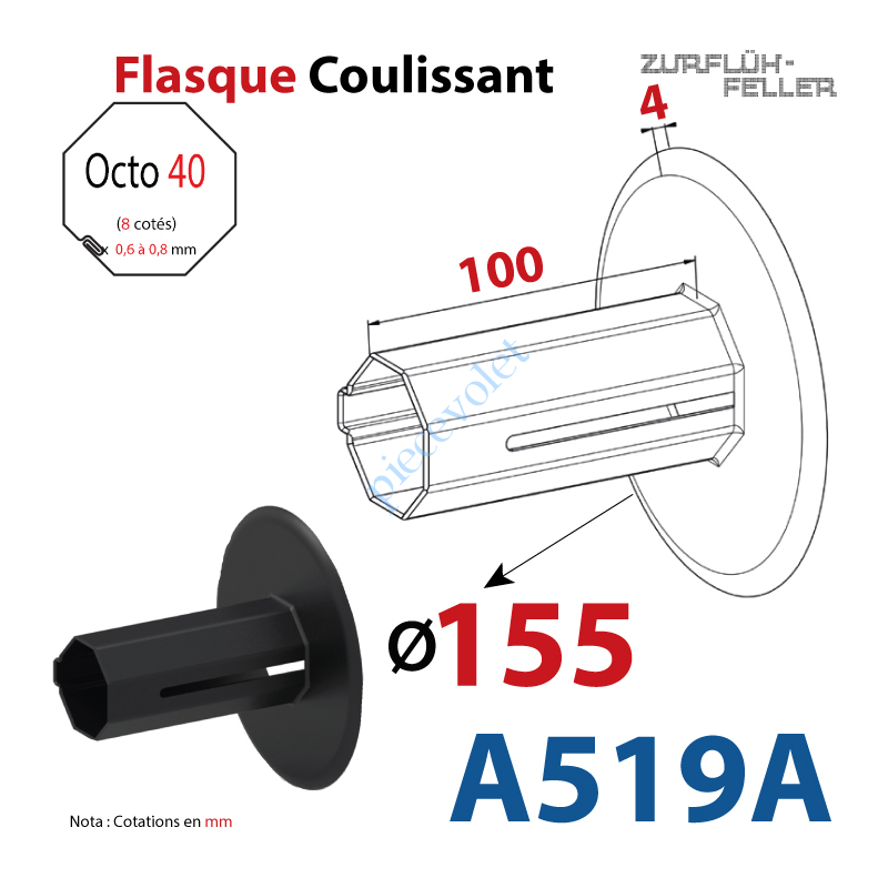 A519A Flasque Coulissant ø 155 mm pour Tube Octo 40