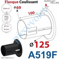 A519F Flasque Coulissant ø 125 mm pour Tubes Zf 64, Deprat 62 & Octo 60