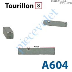 A604 Tourillon Carré de 8 mm Longueur 45 mm Marqué