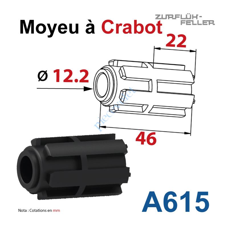 A615 Moyeu à Crabot Mâle Zf - Crabot Mâle Zf Alésé ø 12,2 mm Femelle