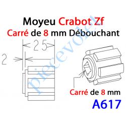 A617 Moyeu Crabot Zf Mâle - Carré de 8 mm Femelle Débouchant