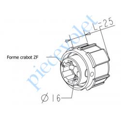 A780 Embout Zf 54 à Crabot Zf Femelle Percé ø 16 mm Femelle pour Compensateur