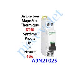 A9N21025 Disjoncteur Magnétothermique DT40 Prodis Peignable Uni + Neutre 16 Ampères Courbe C-6kA 1 Mod