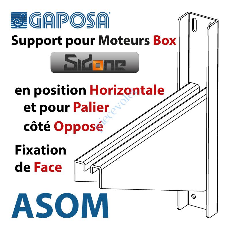 ASOM Support pour Moteur Box SidOne en Position Horizontale 4 Trous Pose Face