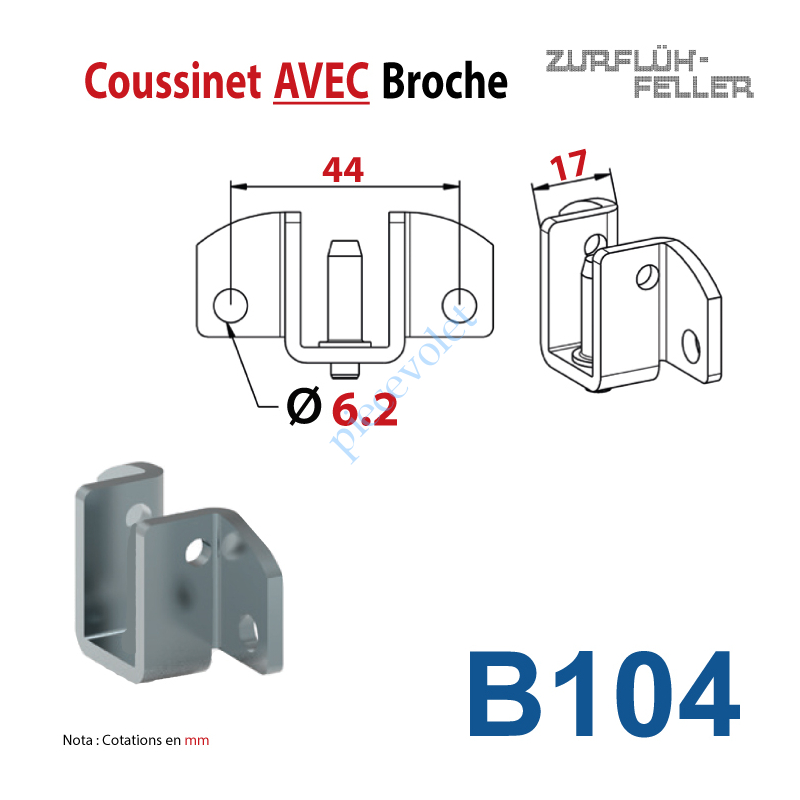 B104 Coussinet à Broche Entr'axe 44 mm