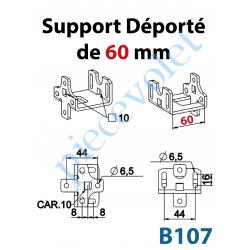 B107 Support Déporté de 60 mm Percé à Entre-axes 44mm et en Carré de 10mm Sans visserie