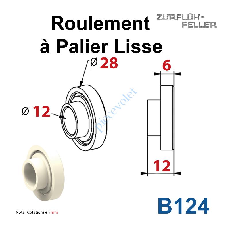 B124 Roulement à Palier Lisse ø Ext 28 - ø Int 12 Ep 12 en Polyamide & Polyacéthal